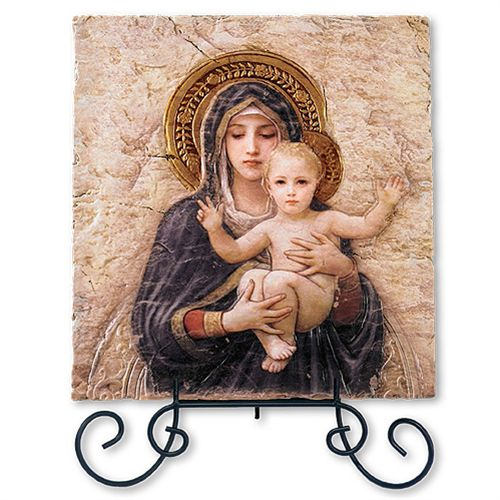 Bourguereau Madonna and Child - Tile Plaque with Stand