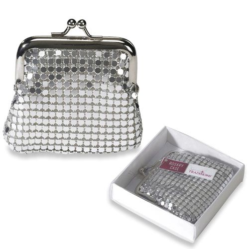 Silver Mesh Rosary Case