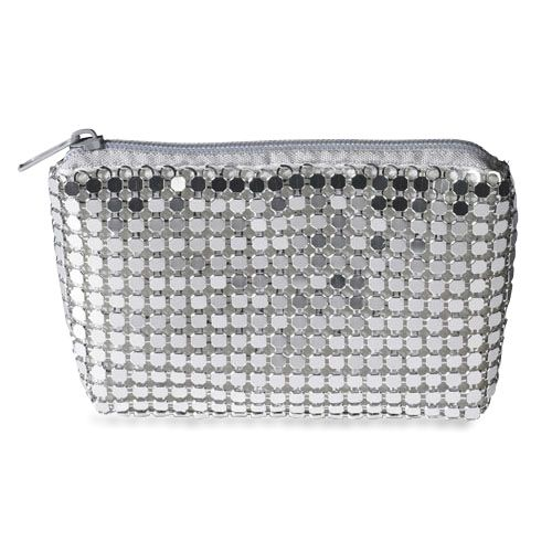 Silver Mesh Rosary Case Zipper Closure