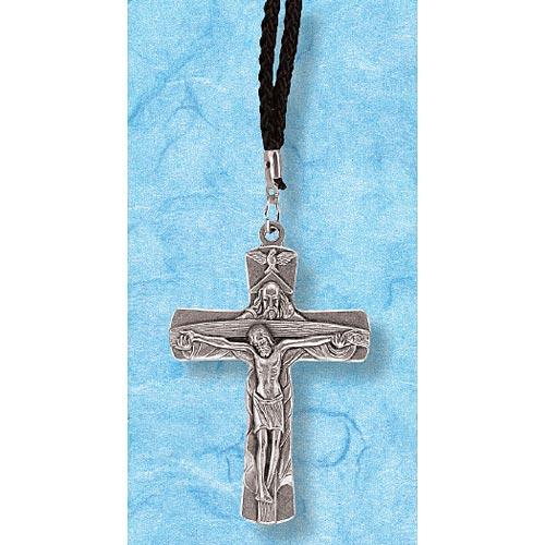 Holy Trinity Crucifix on Black Cord