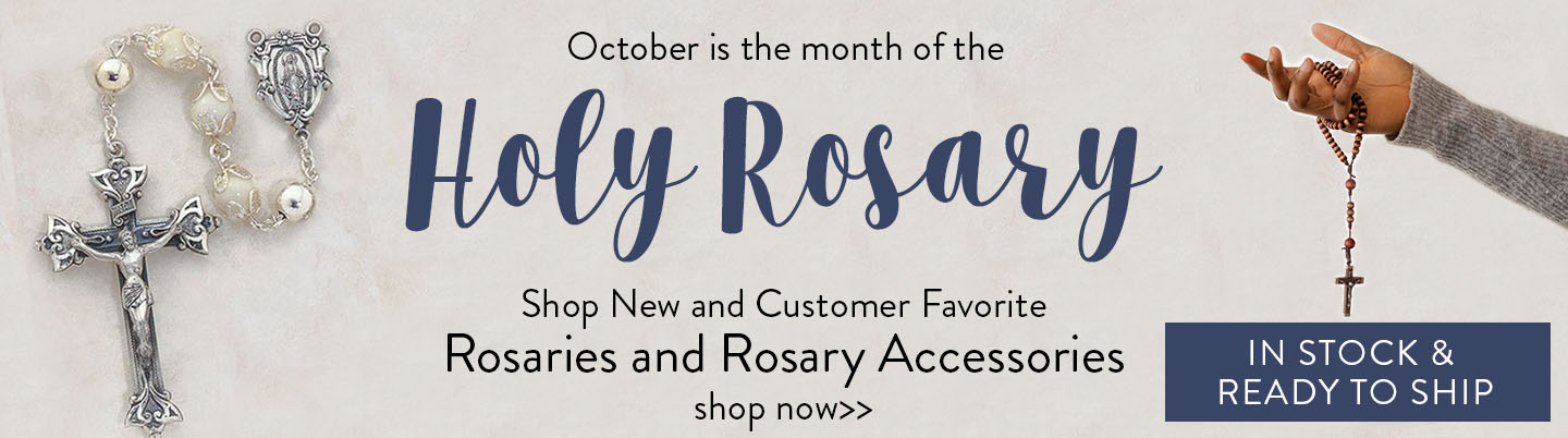October is the month of the holy rosary. Shop new and customer favorite rosaries and rosary accessories - shop now - in stock and ready to ship!
