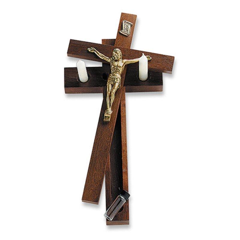 Hanging Sick Call Crucifix - in Walnut Finish