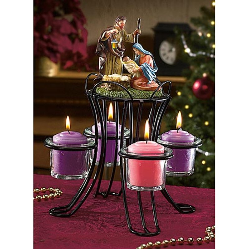 Nativity Advent Wreath - with Votive Glass Candle Holders