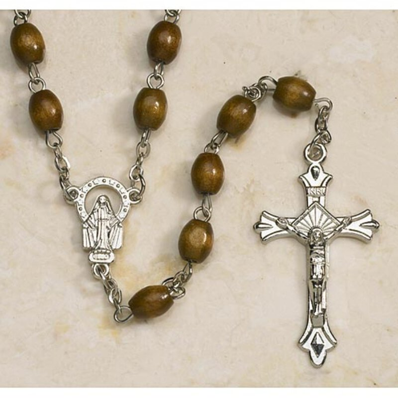 Men's Oval Rosary - in Brown Wood