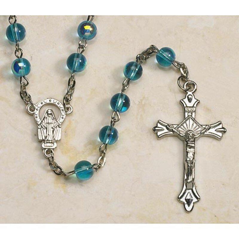 Aqua Bead Aurora Borealis Rosary
