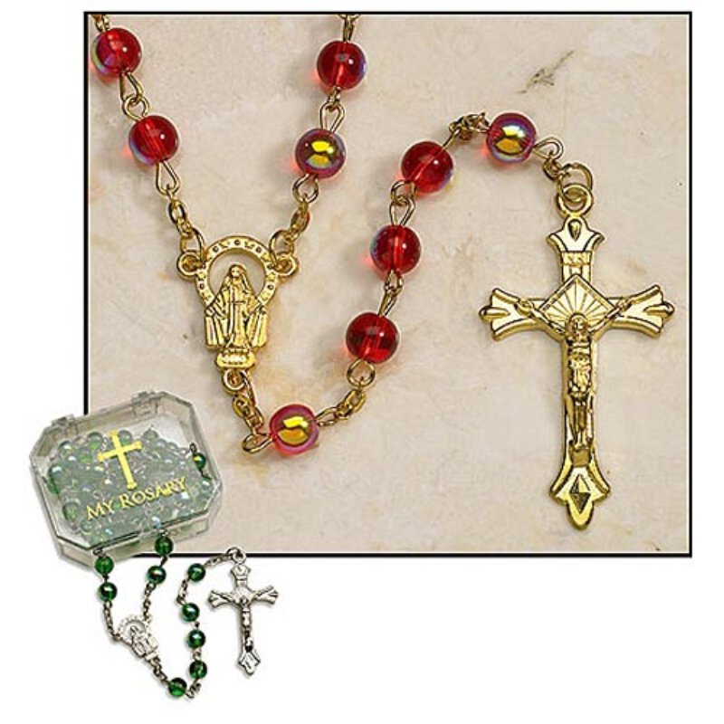 Ruby Red Rosary - Aurora Borealis Beads