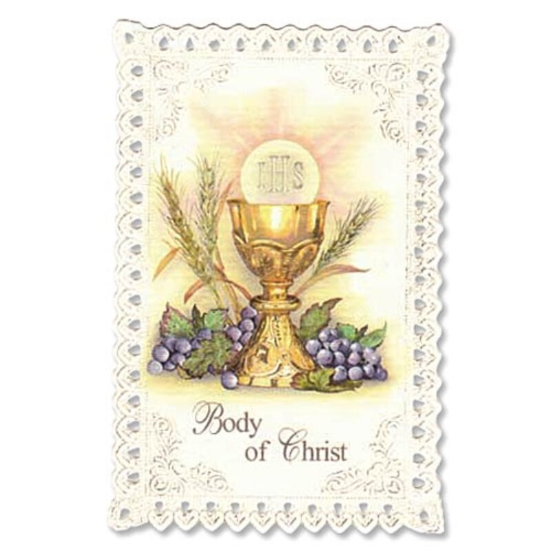 Faux Lace Holy Cards for First Communion