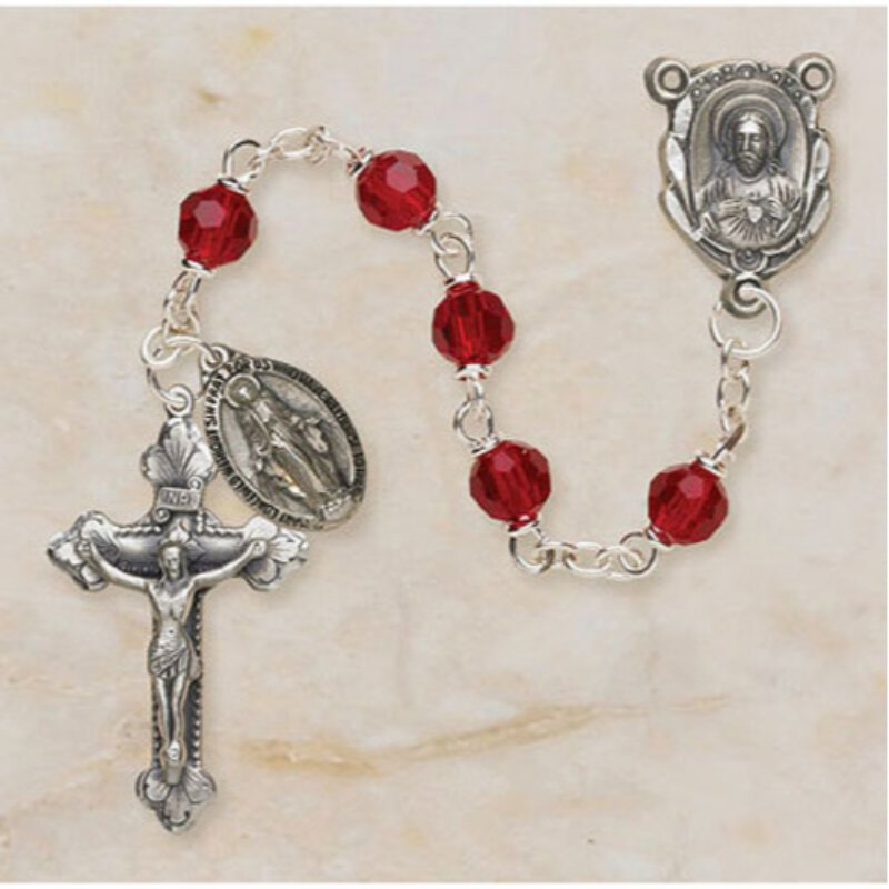 Ruby Rosary with Miraculous Medal