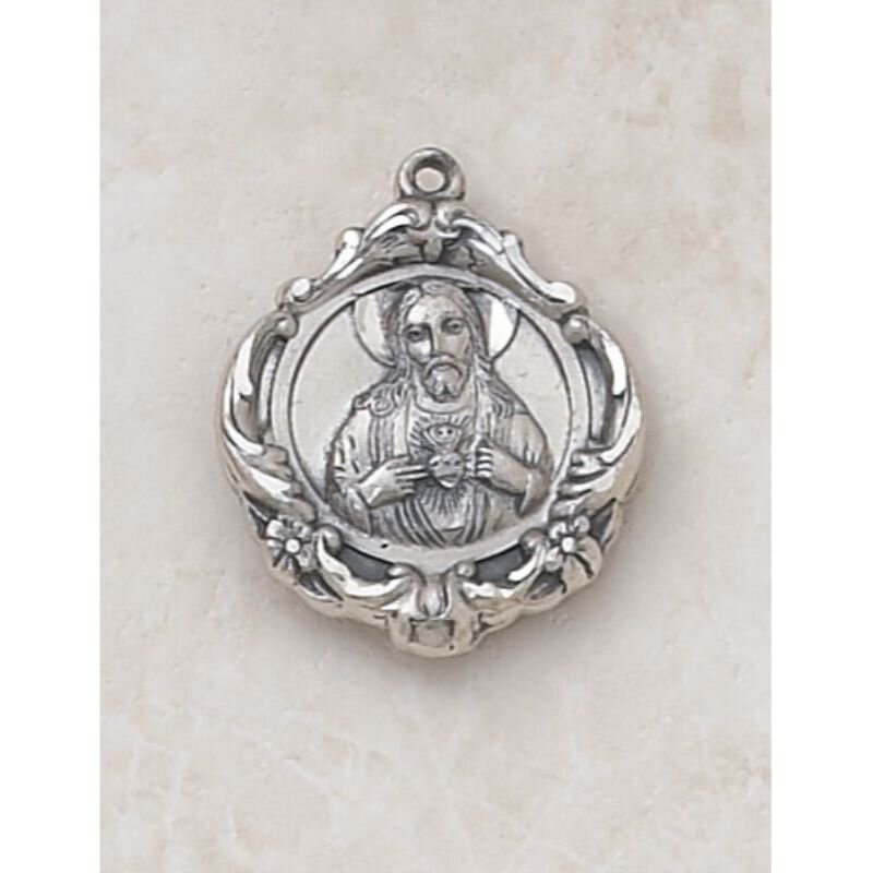 Ornate Creed Scapular Medal - In Sterling Silver