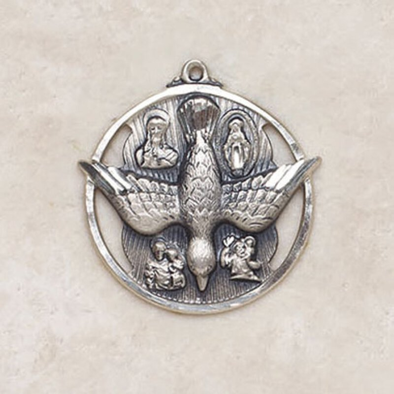 Four Way Holy Spirit - Catholic Sterling Medal