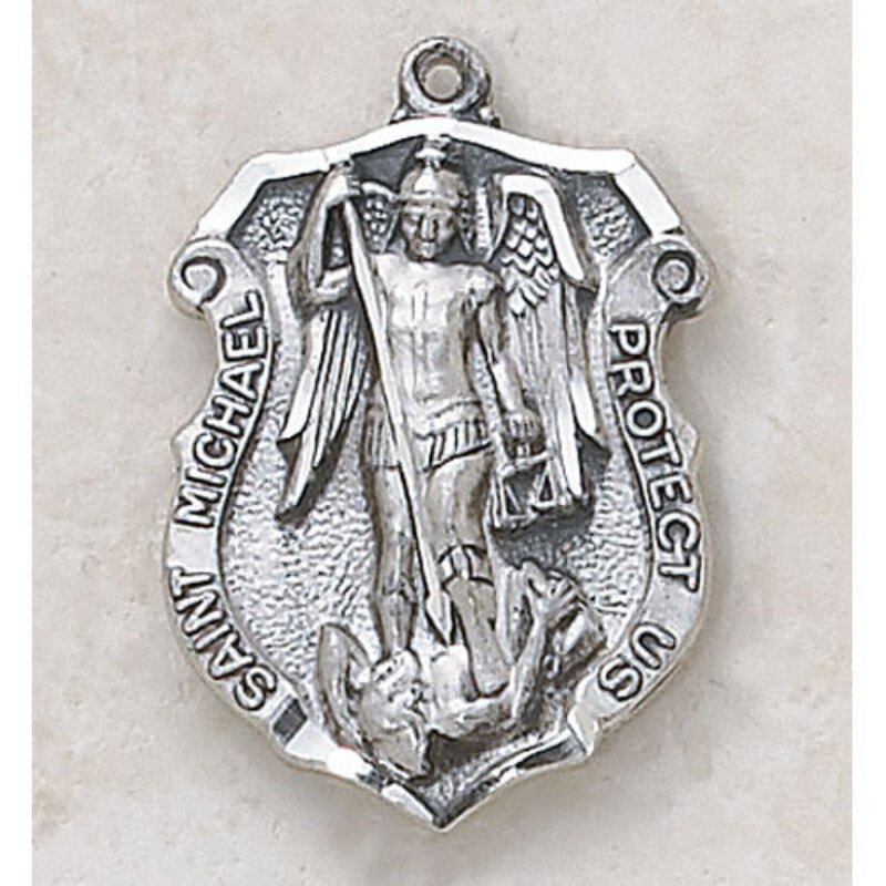 Saint Michael Medal - Patron Saint of the Police Force - in Sterling Silver