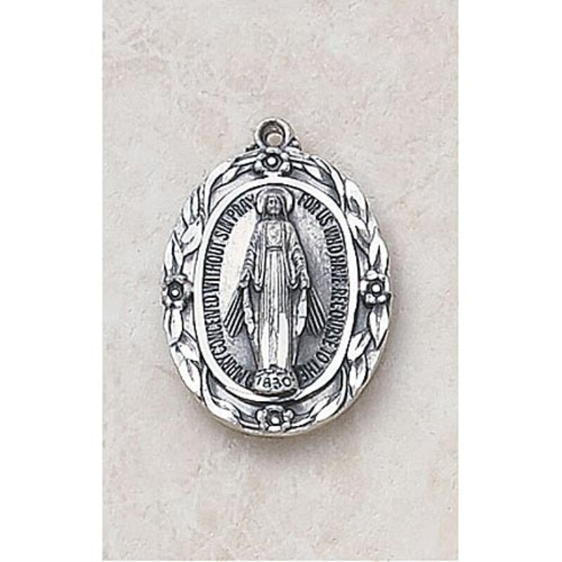 Intricate Miraculous Medal - In Sterling Silver