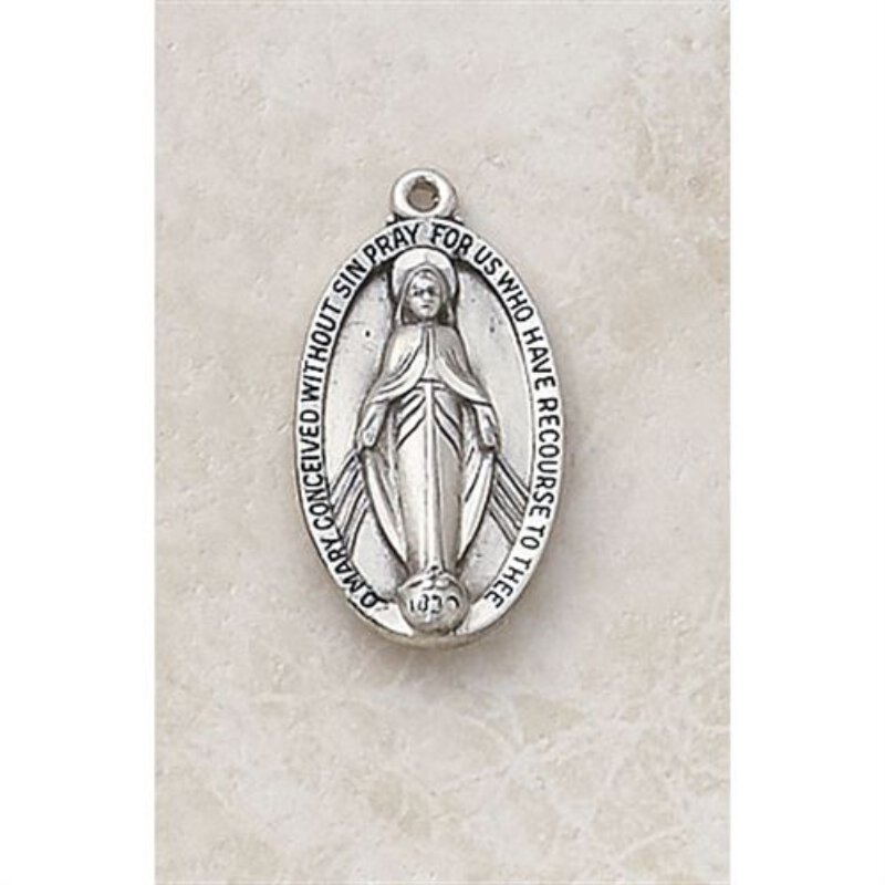 Creed Traditional Oval  Miraculous Medal - in Sterling Silver