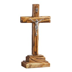 Olive Wood Standing Crucifix - Two Tier Base