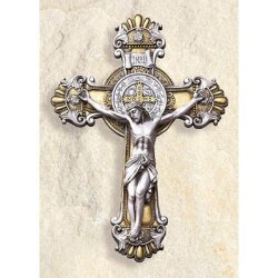 Ornate Saint Benedict - Wall Crucifix