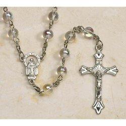 Clear Glass Aurora Borealis Rosary