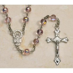 Pink Beaded  Aurora Borealis Rosary