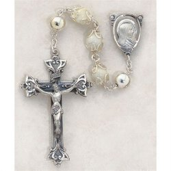 Mother of Pearl Capped Bead Rosary - in Sterling Silver