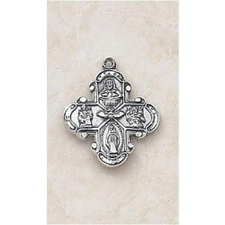 Traditional Four Way Cross Medal - in Sterling Silver