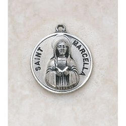 Saint Marcella Catholic Medal -  in Sterling Silver