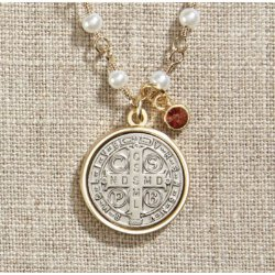 Saint Benedict Necklace - with Pearl Chain