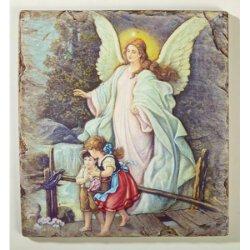 Guardian Angel with Children - Tile Plaque