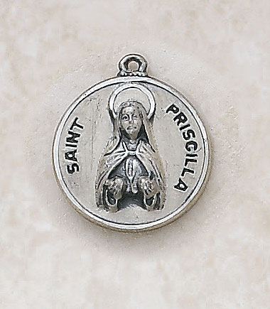 Saint Priscilla Medal - in Sterling Silver
