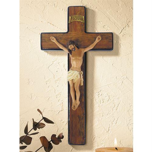 """Sienna Burlwood Crucifix - 10"""" Wall Cross"""