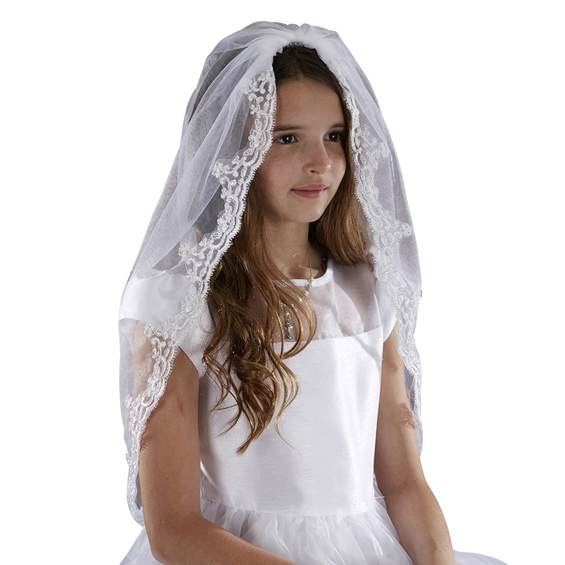 "Mantilla First Communion Veil - 36"" Long"