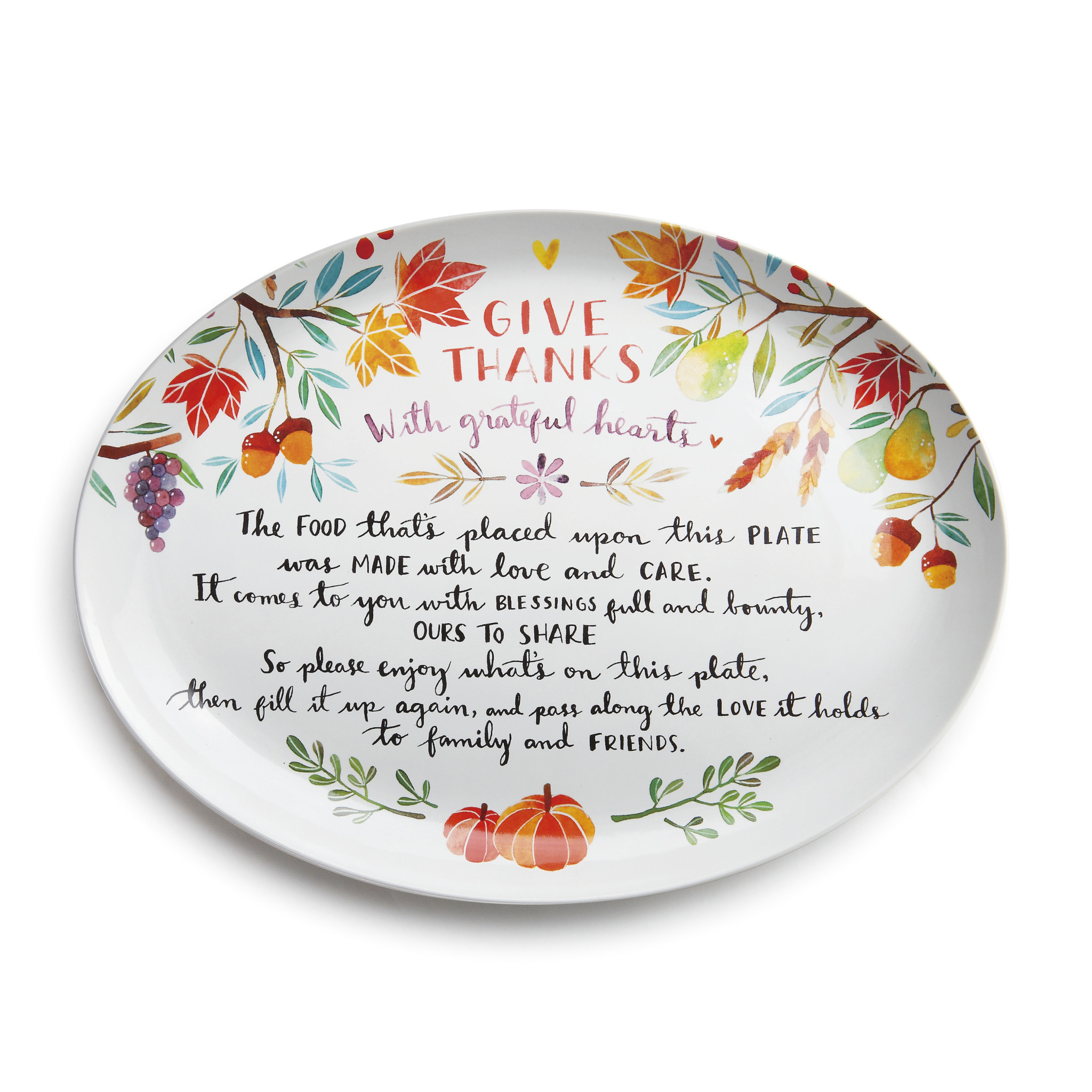 Earthenware Give Thanks Platter