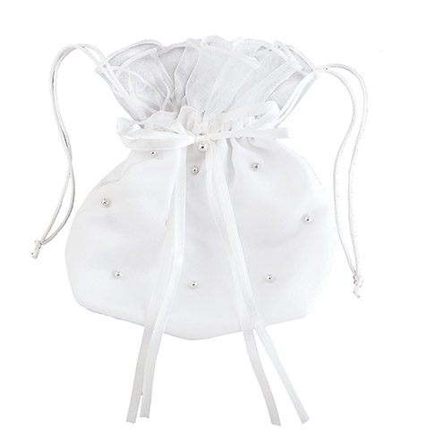 Pearl Drawstring Purse - for First Holy Communion