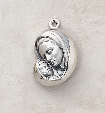 Madonna and Child Medal In Sterling Silver