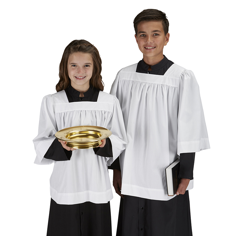 Square Neck Altar Server Surplice - for Catholic Mass
