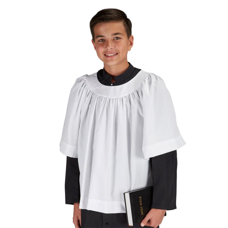 "Round Neck Surplice for Altar Servers - 3/4"" Sleeve"