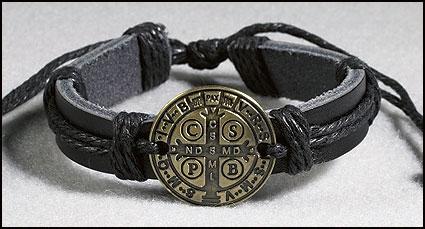 Leather Saint Benedict Medal Bracelets -12/Pk
