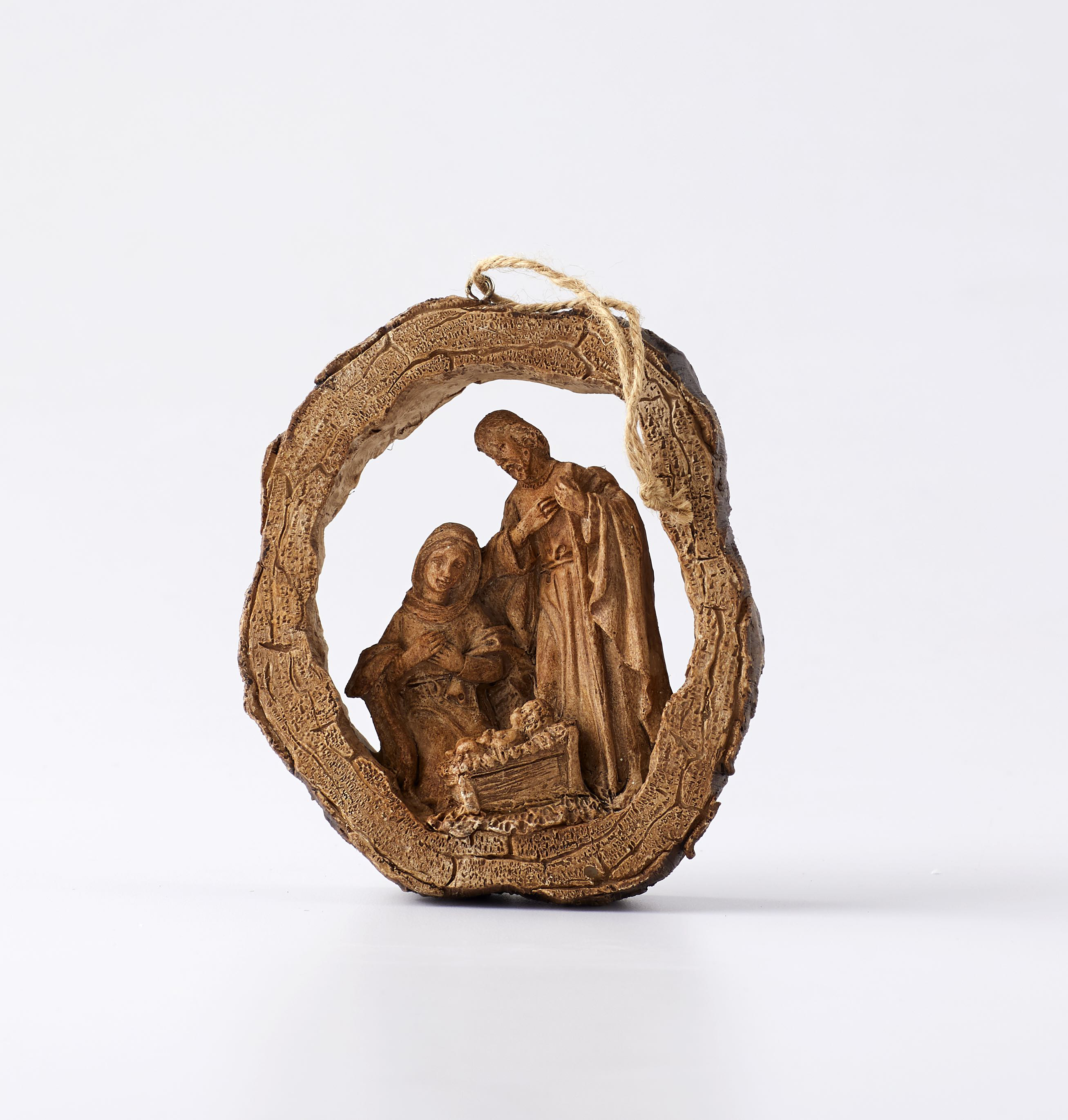 Holy family wood carved christmas ornament christmas tree ornaments