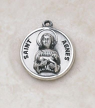Saint Agnes Patron Saint Medal - In Sterling Silver