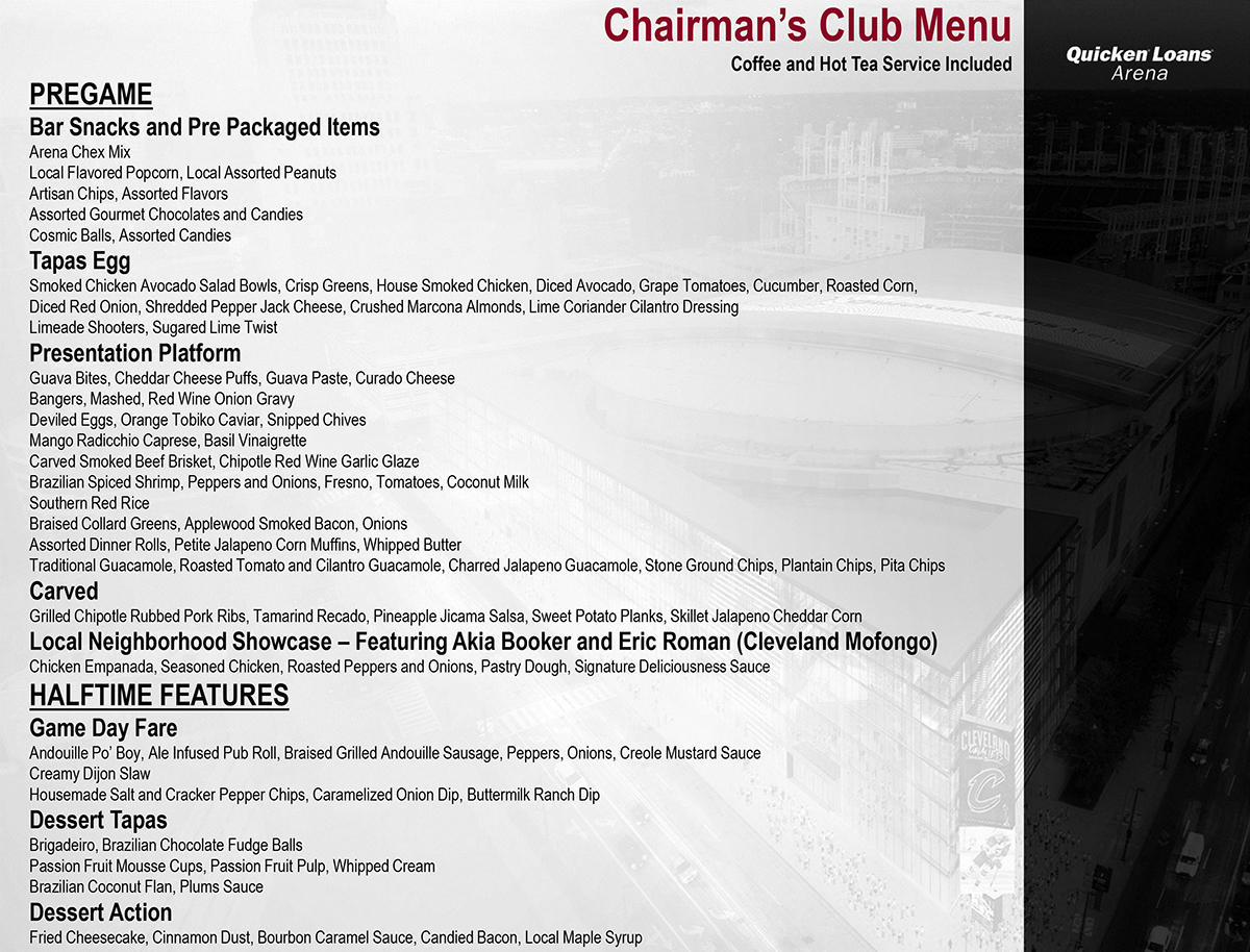 Chairman's Club Menu