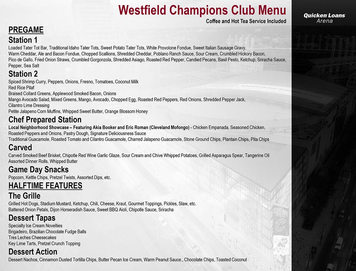 Westfield Champions Club Menu
