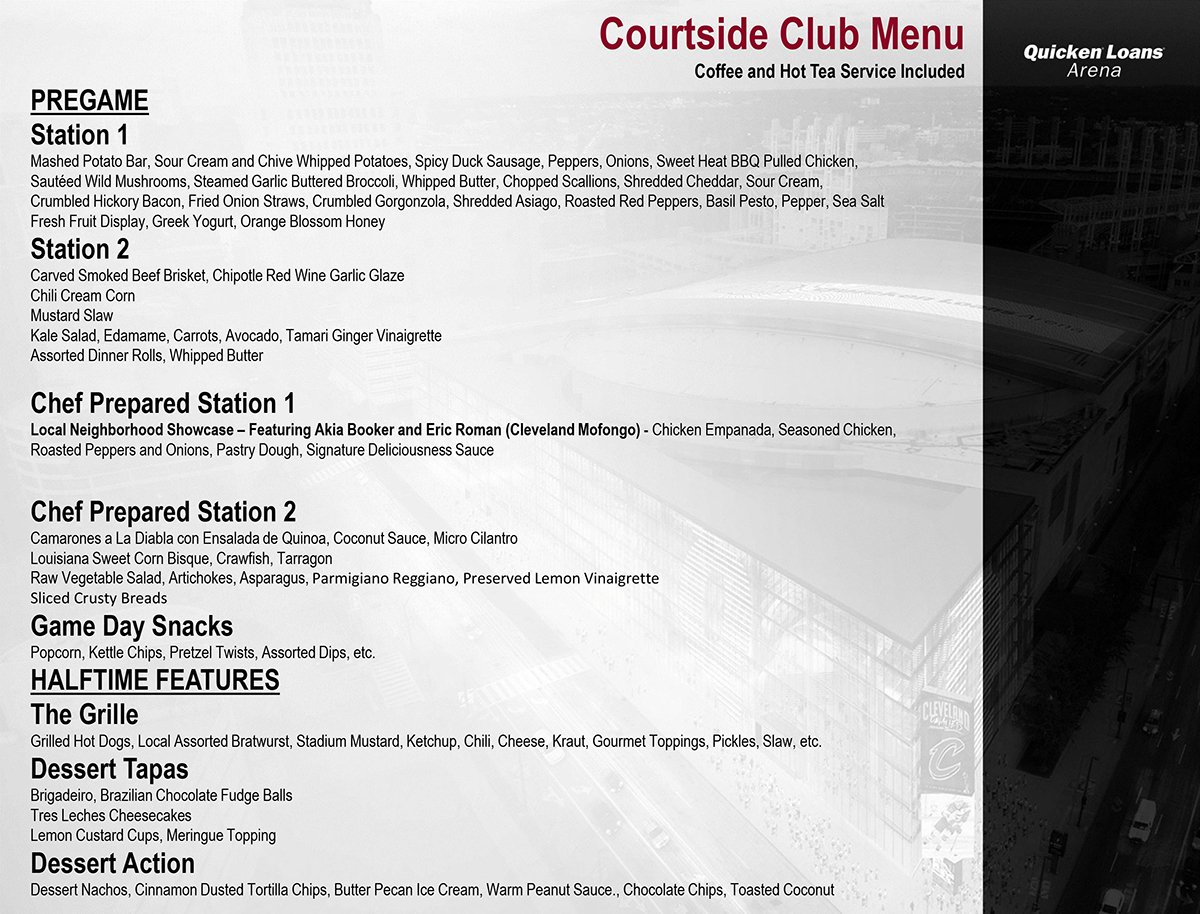 Courtside Club Menu
