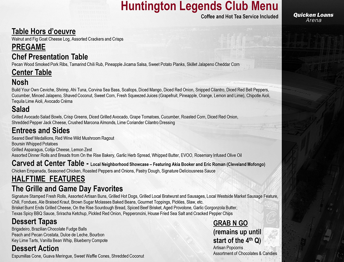 Legends Club Menu