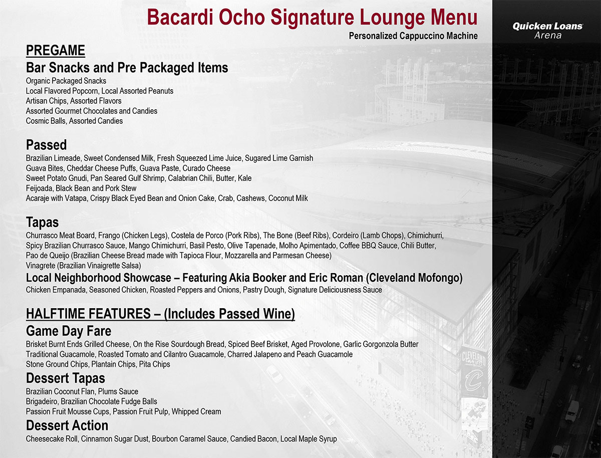 Bacardi Ocho Signature Lounge Menu