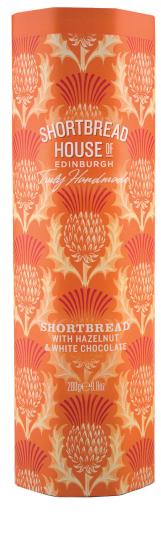 Shortbread House Tin with White Chocolate & Hazelnut 280g
