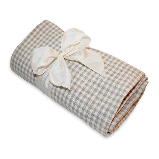 Traditional Gingham Picnic Blanket- Tan