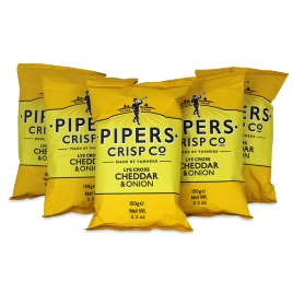 Pipers Crisps Cheddar & Onion Chips 5.3oz (5-Pack)