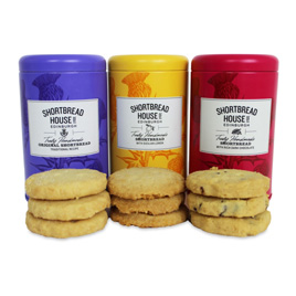 Shortbread House 3 Tin Variety Pack: Original, Lemon & Dark Chocolate