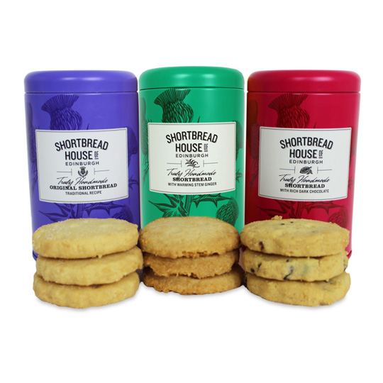 Shortbread House 3 Tin Variety Pack: Original, Stem Ginger & Dark Chocolate