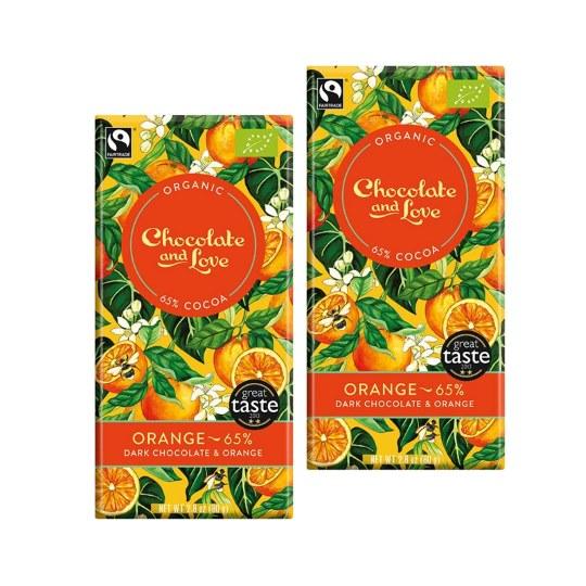 Chocolate & Love Dark Chocolate with Orange 65% (2-Pack)