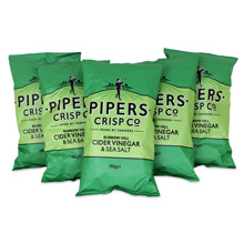 Pipers Crisps Cider Vinegar & Sea Salt Chips 5.3oz (5-Pack)