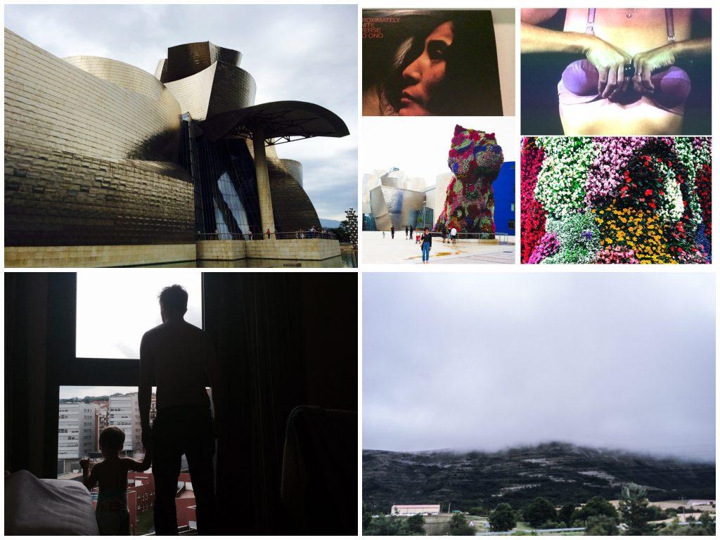 O museo, Yoko Ono, escultura em flores do Jeff Koons, vista do hotel e de Bilbao.